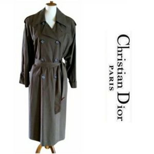 Vintage - Dior Khaki Midi Trench Coat